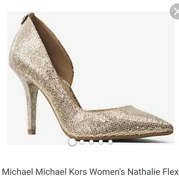 477dd6a69bd Michael Kors nathalie flex high pump glitter gold NWT